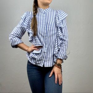 H&M striped ruffle button down blouse sz Small